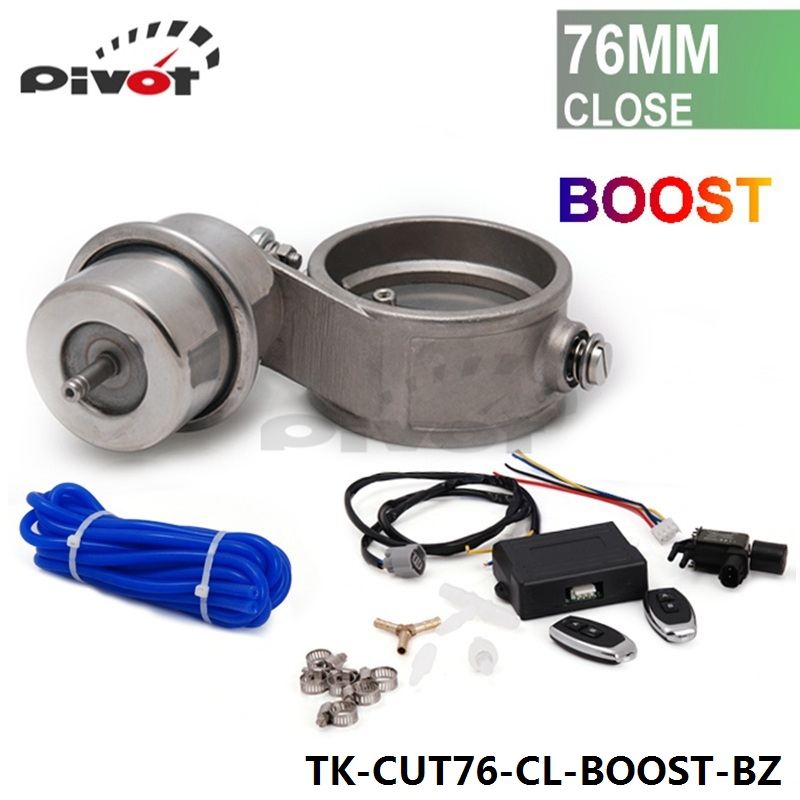 """Фотография Exhaust Control Valve Set Cutout 3""""76mm Pipe Closed With Boost Actuator with Wireless Remote Controller Set TK-CUT76-CL-BOOST-BZ"""