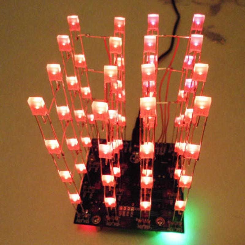 3D LED LightSquared 4x4x4 LED Cube White LED Red-Blue Ray DIY Kit 2*5*7MM(China (Mainland))