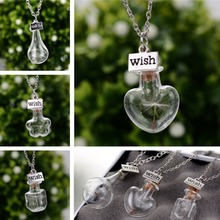 [PCMOS] Dandelion in Glass Bottle Make a Wish Pendant Coat Chain Couple Friends Best Wishes Collection ali0009(China (Mainland))