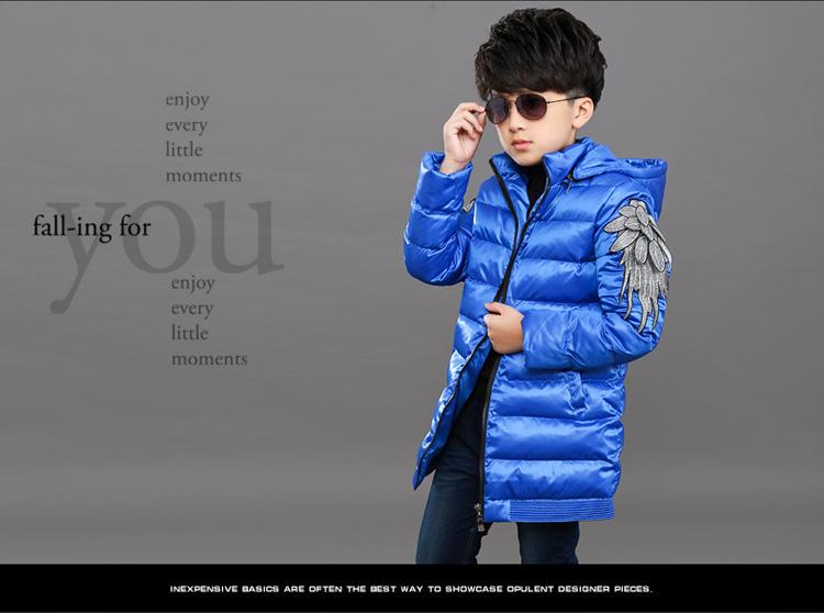 Скидки на Горячая! 2016 зима мальчик с чистого цвета , хлопок зимние-мягкие одежды досуг молнии подкладки верхней одежды крышка съемная пальто