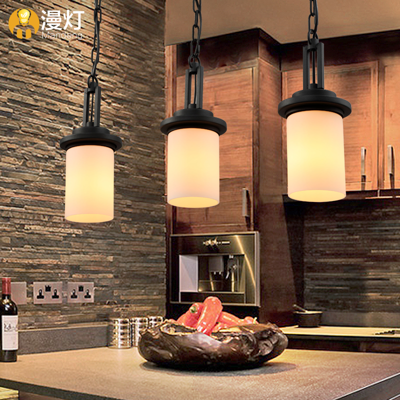 [light] IKEA lamps diffuse simple American country Vintage wrought iron dining room 3 bar Chandelier(China (Mainland))
