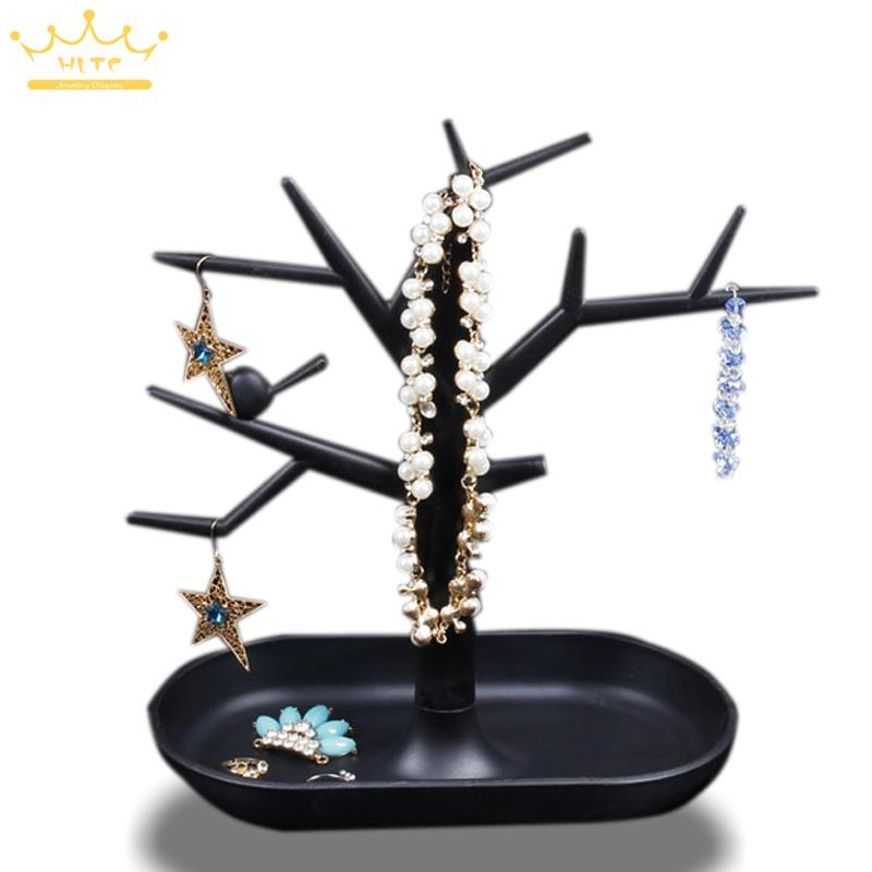 Free Shipping Jewelry Necklace Ring Earrings Black Color Bird Tree Stand Display Organizer Holder Rack