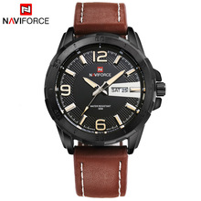 Top Men Watch Luxury Brand Naviforce Leather Strap Analog Men's Quartz Date Clock Casual Sports Watches Men Military Wrist Watch