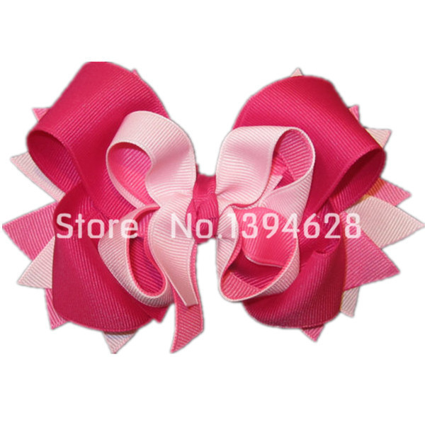Pink over Pinks Boutique Hair Bow 3 Layers of Ribbon and Spikes Big Hairbow