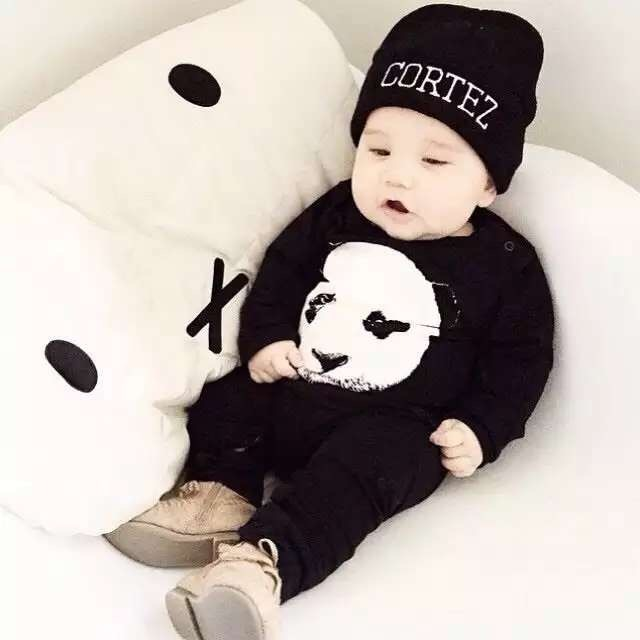 Autumn Spring Baby Boy/Girl rompers fashion cotton black long sleeve panda pattern