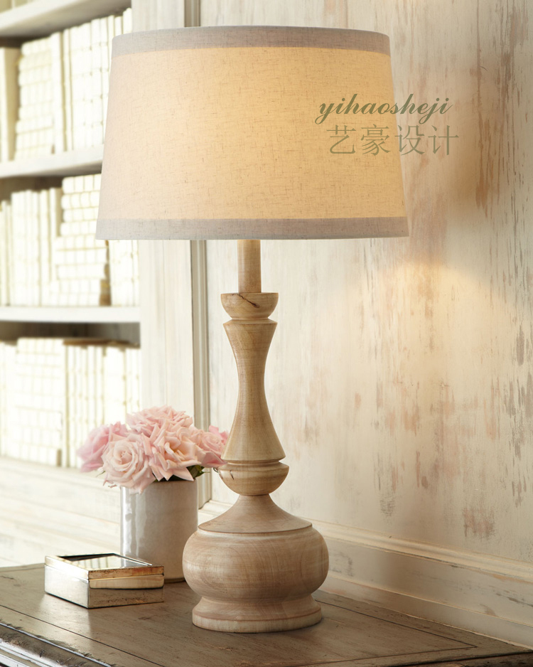 American Country Living Room Bedroom Bedside Lamp Creative European Pastoral Retro Wood Linen