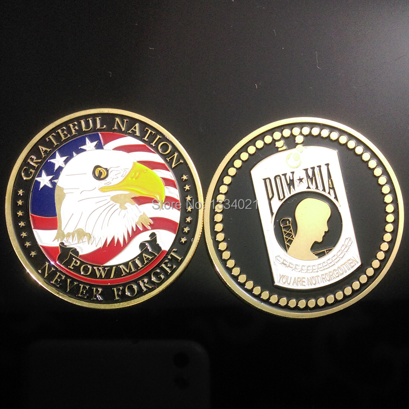 5pcs/lot,Pow Mia in World War II, United States Great Warriors We Never Forgot - Challenge Silver Clad Enamel Coin Medal(China (Mainland))