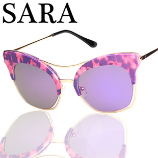 2015 new south Korean ms V brand individuality, cat's eye color film star sunglasses 1613 + - xxschyllwyl store