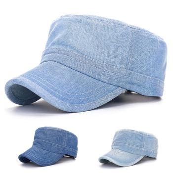 CLIMATE New Unisex Blank Denim Flat Top Military Army Caps Adjustable Jean Wear Hat Casquette Gorras Bones For Men Women