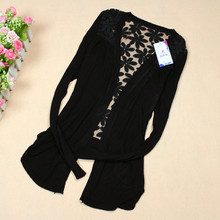 New 2015 Fashion Women Cardigan Lace Flower Sweet Candy Color Crochet Knit Blouse Sweater Cardigan Coat