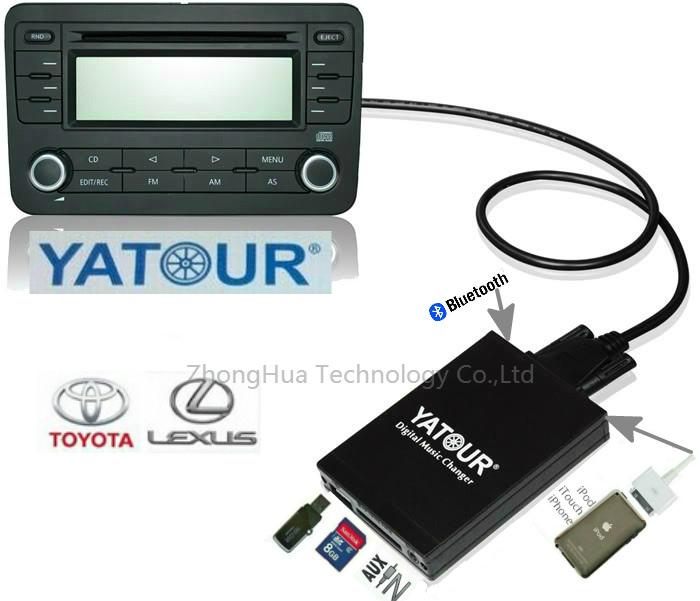 Yatour YTM07 Music Digital CD changer USB SD AUX Bluetooth ipod iphone interface for Toyota Small 6+6 plug LEXUS/SCION Playet(China (Mainland))