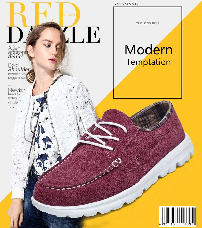 New Arrival Fashion Women Casual Shoes Autumn Women Suede Leather Shoes Solid Lace-up Flat Shoes Woman Chaussure Femme Size35-40