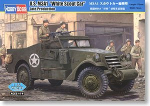 HobbyBoss 82452 1/35 M3A1 White Scout Car Late plastic model kit(China (Mainland))