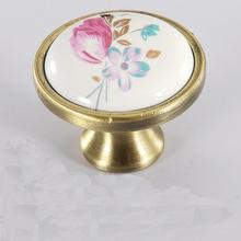 Antique Classic Flowers Ceramic Furniture Hardware Handles Door Knob Drawer Wardrobe Kitchen Cabinets Cupboard Pull Accessories