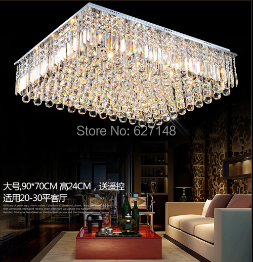 new modern flush mount square clear crystal ceiling light