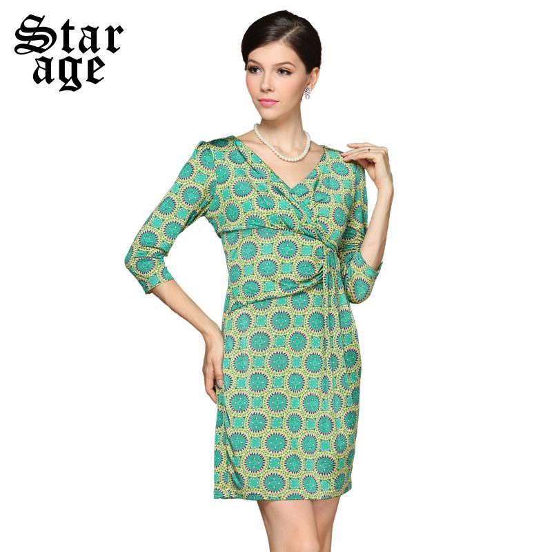 S~XXXL Brand Elegant Ladies Floral Print Slim Waist V-neck Bodycon Pencil Dresses 2016 Fall Fashion Big Size Women Clothing 3177(China (Mainland))