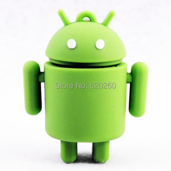 Android usb flash! Free shipping 2gb/4gb/8gb/16gb/32gb New Lovely Creative design Green Robot usb flash drive USB2.0 Flash disk(China (Mainland))