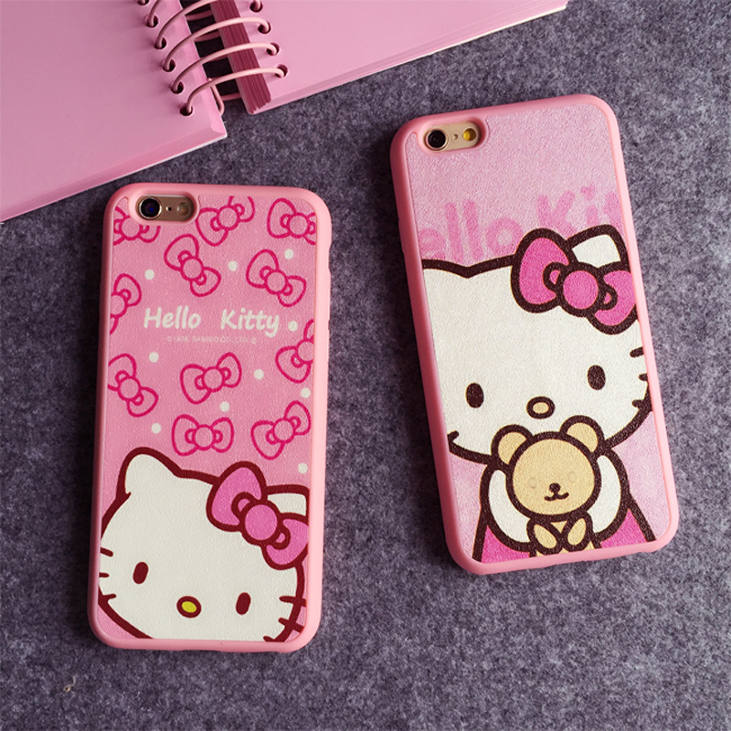 4.7 5.5 Inch Cartoon Hello kitty Silk TPU soft pink color frame case for iphone 6 6S 6Plus 5 5s SE phone case back cover(China (Mainland))