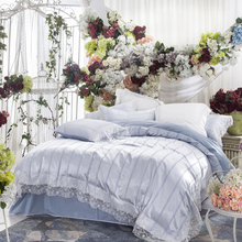 Russian wedding bedding set satin embroidery lace silk mix cotton luxury duvet cover flat sheet bed linen/ light quilt cover set