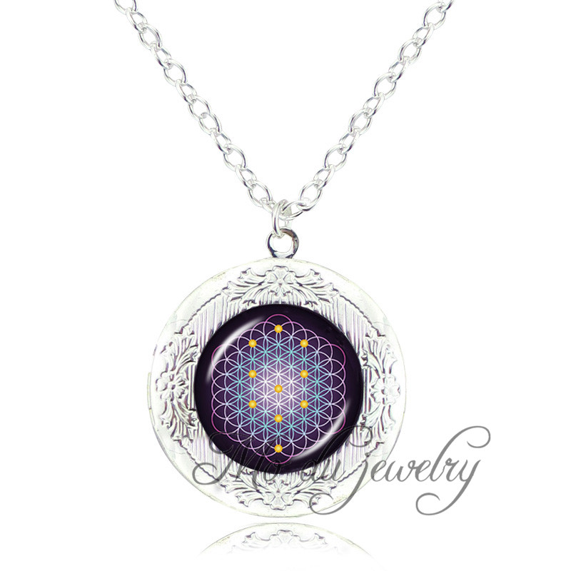 Flower of life locket pendant sacred geometry jewelry silver chain long necklace for women accessories glass dome photo necklace(China (Mainland))
