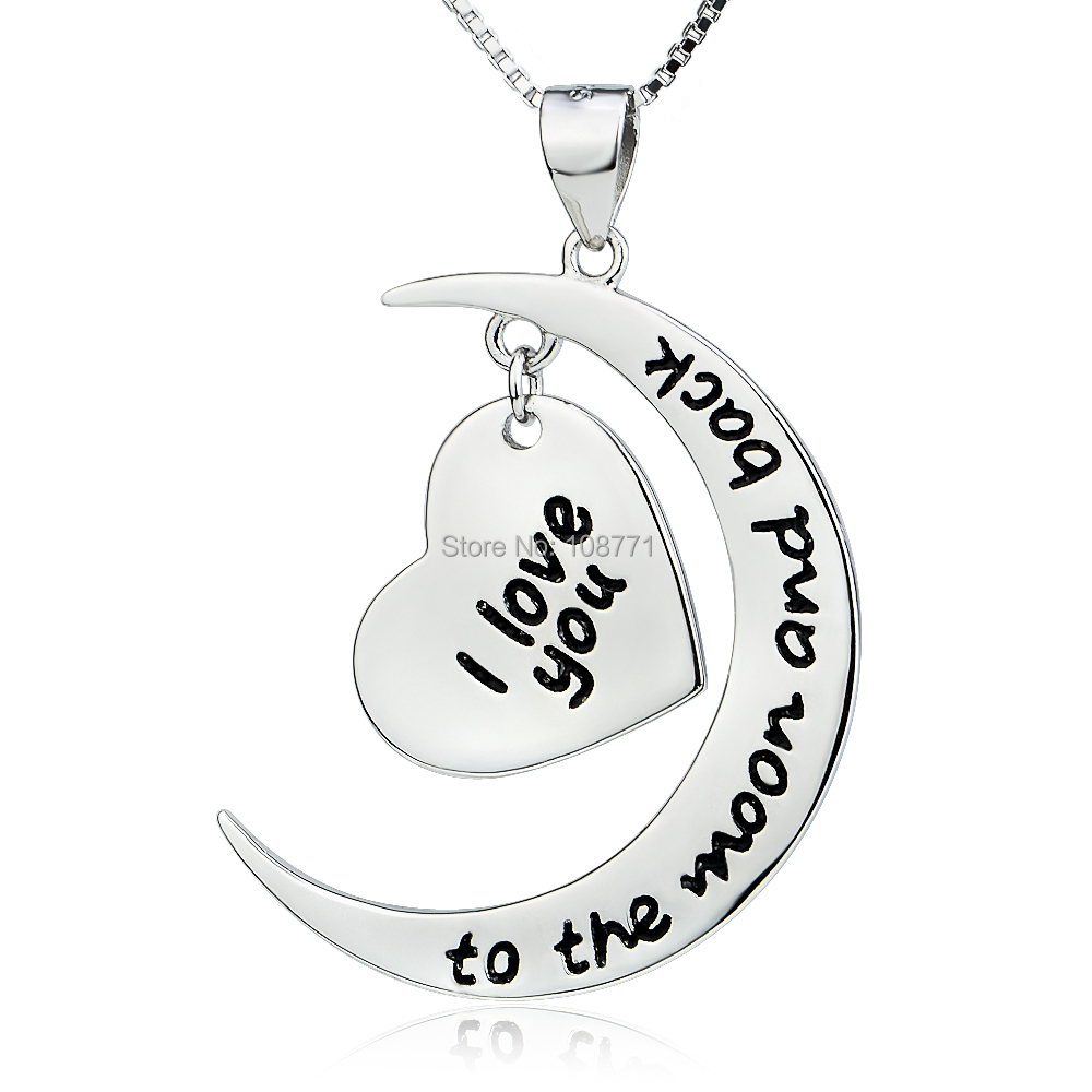 GNX0411 Genuine 925 Sterling Silver Moon and Heart Pendant Necklace I Love You to The Moon and Back Necklace For Women Jewelry(China (Mainland))