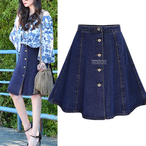 Women's skirt plus size Large size ladies denim skirts A XL-4XL womens saia faldas jupe denim skirt saia midi button blue(China (Mainland))