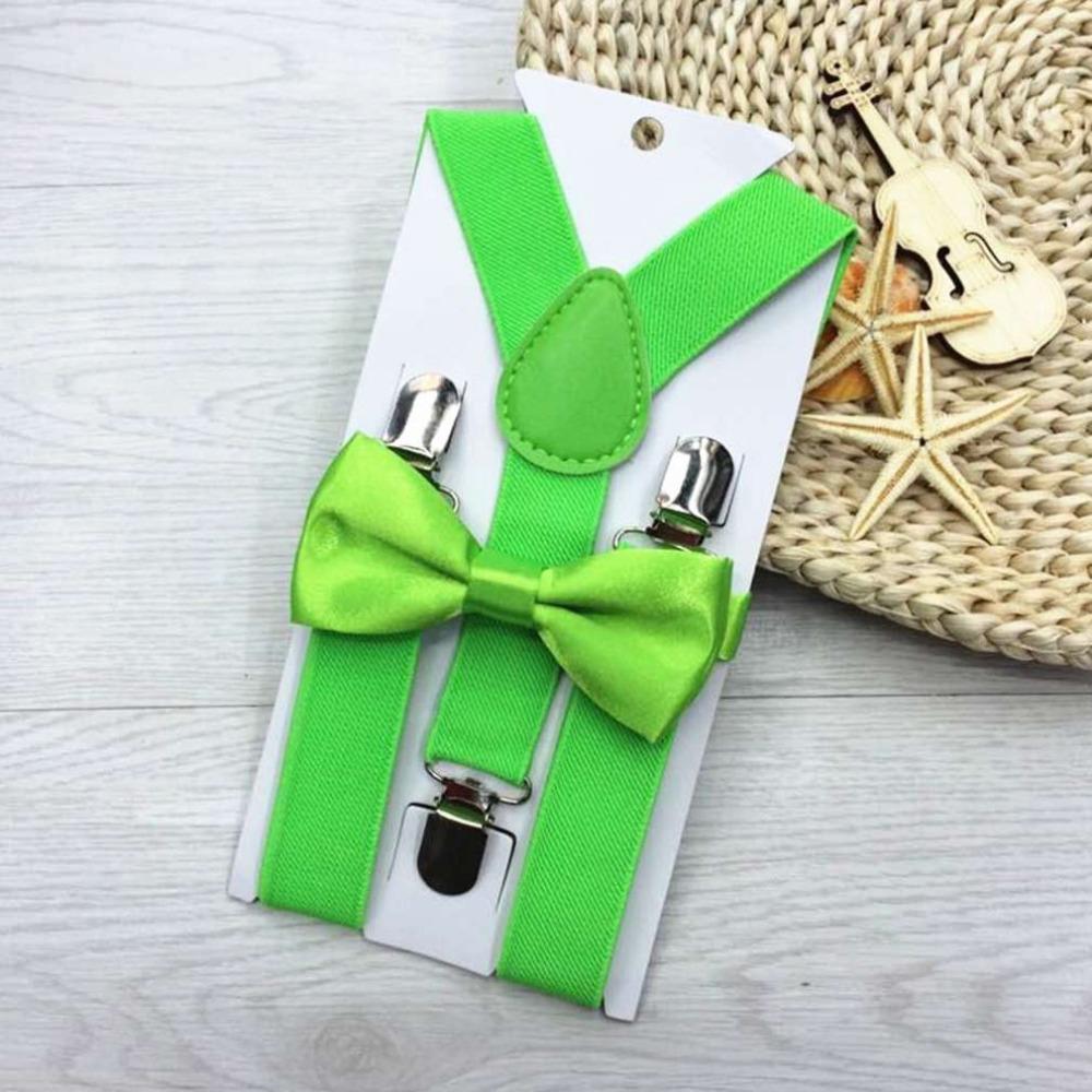 New Fashion Design 13 Colors Kids Suspenders and Bowtie Bow Tie Set Matching Ties Outfits Hot