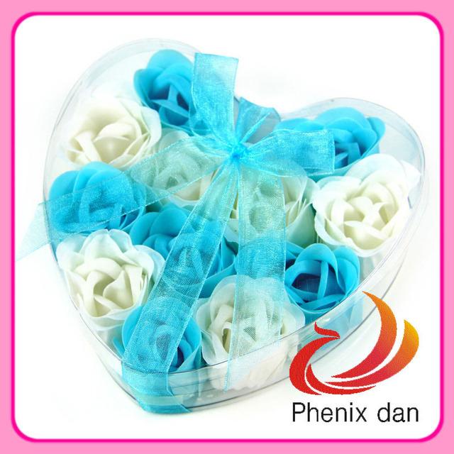 Free shipping 2013 hot-selling the heart shape Birthday/festival gift 12pcs bath Rose soap  flower for shower favors