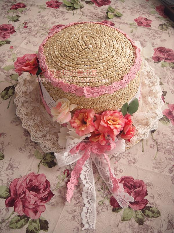 Princess sweet lolita sun hat The original manual handmade lovely hat Europe amorous style pink lace roses bud flat straw hat(China (Mainland))
