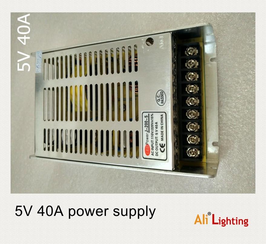 5V 40A 200W switching power supply adapter led strip light transformer 5v(China (Mainland))