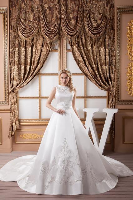 comprar vestidos de casamento baratos de 2015.  Cauda Catedral Longo  vestido de noiva simples