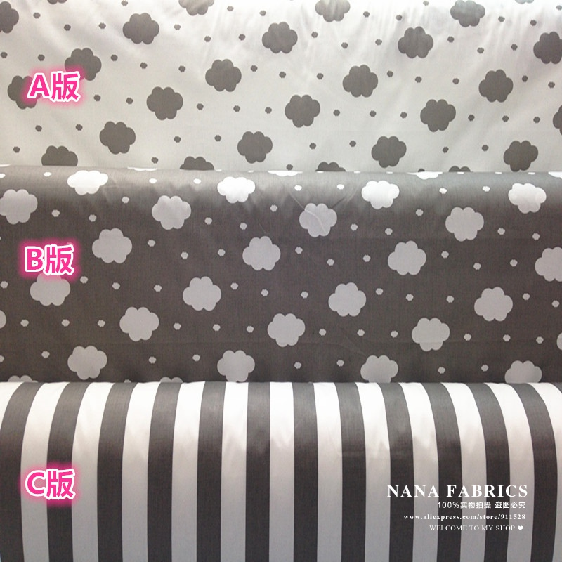 50*160cm Grey Cloud Mini Polka Dots Stripes Printed 100% Cotton Sewing Fabric, Quilting Tissue Clothes for Children Baby Bedding(China (Mainland))