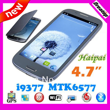 "Singapore post Free Shipping MTK6577 phone Haipai i9377 + leather case Free Hebrew/Polish/Russian 4.7"" Android 4.1.1"