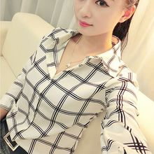 Fashion Women's Long Sleeve White Shirts Plaids Pattern Lapel Casual Blouse Tops C2