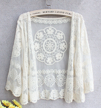 Women Retro Vintage Jacket Boho Cardigan Blouse Embroidered Vestidos Tops Crochet Sexy Lace Swimwear Beach T Shirt Beach Cover(China (Mainland))