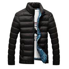 Chaqueta de invierno para hombre 2019 chaqueta de cuello de pie para hombre chaqueta gruesa sólida y abrigo Parkas de invierno para hombre ropa de abrigo acolchada(China)
