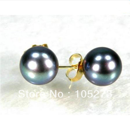 New Arriver Pearl Jewelry Perfect Round 9-10MM AAA++ Peacock Green South Sea Pearl Stud Earrings 14k-20 Gold Stud Free Shipping<br><br>Aliexpress