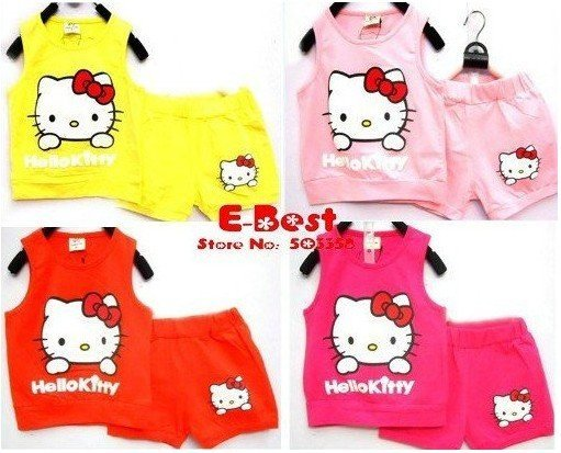 [E-Best] Free shipping!! baby girls cute clothing sets cartoon Hello Kitty design sports sets 4 sets E-SSW-002