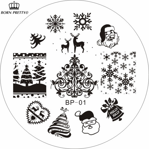 Christmas XMAS Theme Nail Art Stamp Template Image Plate BORN PRETTY BP01 Nail Stamping Plates Set(China (Mainland))