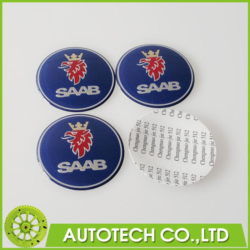 BRAND NEW 4 X 65MM BLUE RESIN SAAB CAR WHEEL CENTER CAP BADGE COVER EMBLEM STICKER PURPLE FOR BJ SCS SAAB AUTO ACCESSORY(China (Mainland))