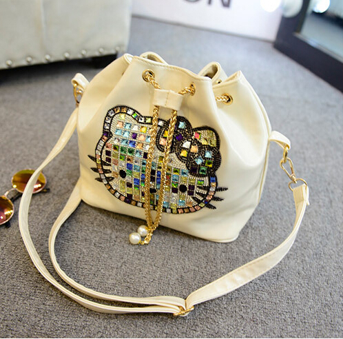 Luxury famous brand chain women female bucket bags leather hello kitty handbags shoulder tote bolso mujer sac de marque femme49(China (Mainland))