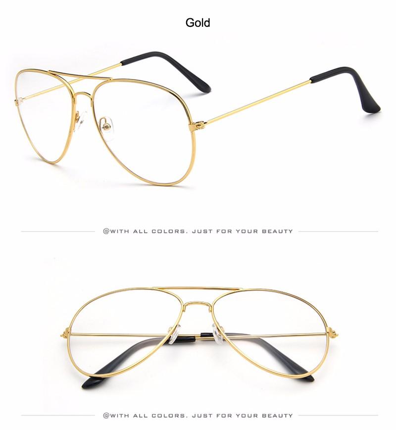 2241b82acc4d79 Aviator Clear Glasses Spectacle Frame Sunglasses Gold Eyewear ...