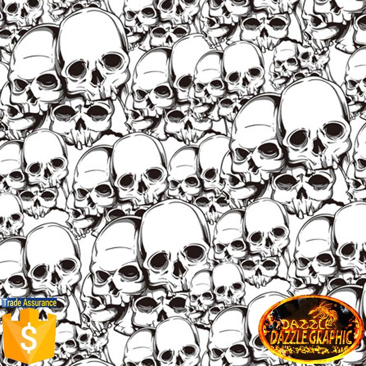 High Quality No.DGDAD044 Dazzle Graphic Mirco Skull Heads Width 0.5M Length 20M Hydrographics Film Water Transfer Printing Film(China (Mainland))