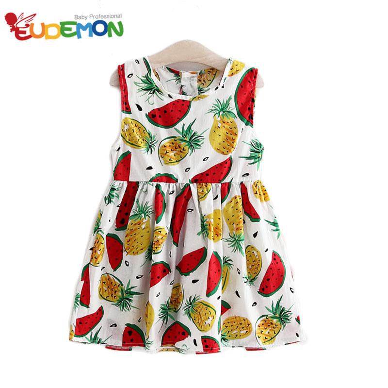 Fashion girls dress Sleeveless girls clothes Cotton Material dresses pineapple Children Clothing Cute girls summer dres(China (Mainland))