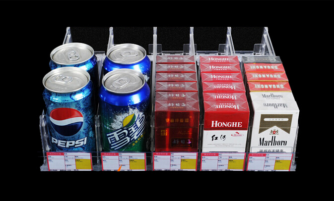 28cm Length PC clear all-in-one Store supermarket shelf divider Automatic propulsion locker drawer Cigarette drink container(China (Mainland))