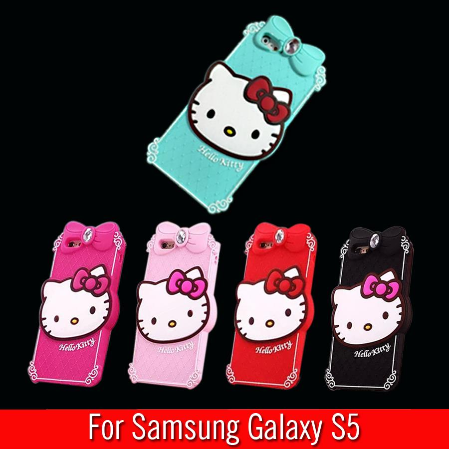 For Samsung Galaxy S5 I9600 G9009D G9006V Case Diamond Hello Kitty Silicon Design Cell Phone Back Protective Shell Cover(China (Mainland))