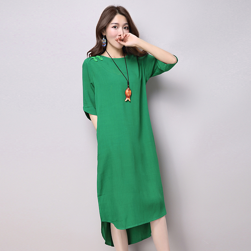 Vintage Style Dress Short Sleeve Solid Color Cotton&Linen ...