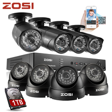 ZOSI HD Video Surveillance 1000tvl IR CUT Outdoor Waterproof Security Camera System 8Ch CCTV 960H DVR system DVR Kit 1TB HDD