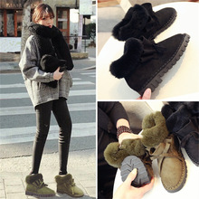 Winter new frosted fur one short tube plus velvet warm card rabbit students flat with plush snow boots(China (Mainland))