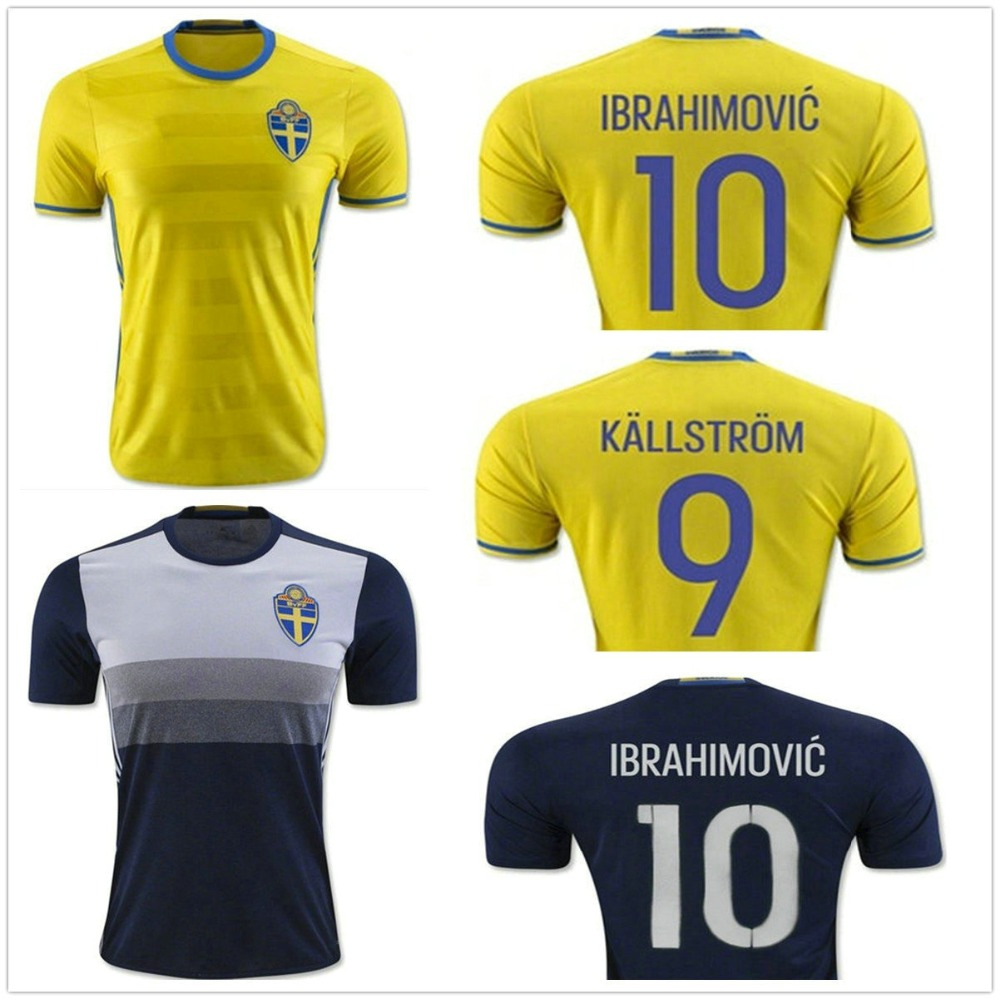 2016 Sweden home yellow Soccer jersey Top Thai Team National IBRAHIMOVIC KALLSTROM away blue Football shirt(China (Mainland))